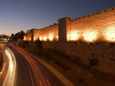 Night Time Lights of Traffic, Jaffa Gate, Old Walled City, Jerusalem, Israel, Middle East