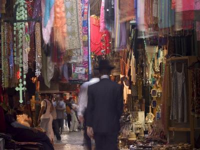 Jewish Man in David Street Tourist Market, Old Walled City, Jerusalem, Israel, Middle East
