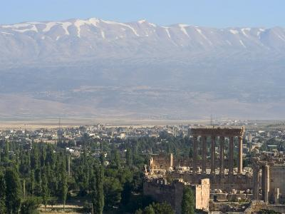 Snow Capped Mountains of the Anti-Lebanon Range Behind the Roman Archaeological Site, Lebanon