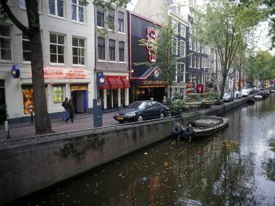 Red Light District Along One of the City Canals, Amsterdam, the Netherlands (Holland)