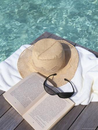 Straw Hat, Book and Sunglasses on Towel, North Male Atoll, Maldives, Indian Ocean