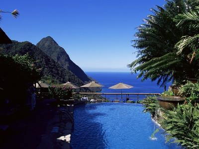 The Pool at the Ladera Resort Overlooking the Pitons, St. Lucia, Windward Islands