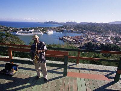 Man Playing a Saxophone at Morne Fortune, with a View Over Castries, St. Lucia, West Indies