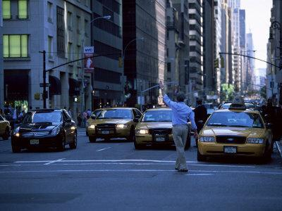 Main Hailing Taxi in Downtown Manhattan, New York, New York State, USA