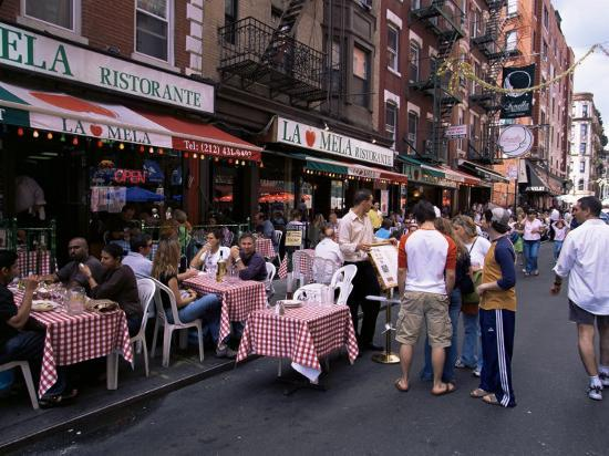 Italian Restaurants In Nyc: People Sitting At An Outdoor Restaurant, Little Italy