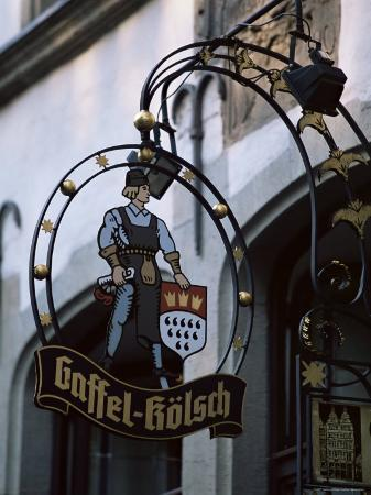 Decorated Sign of Locally Produced Beer Called Gaffel Kolsch in Old Town, North Rhine Westphalia