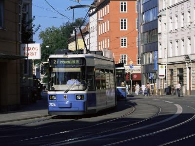Tram in the City Centre, Munich, Bavaria, Germany