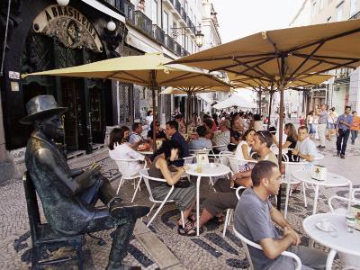 Cafe Brasileira, with Sculpture of the Poet Fernando Pessoa, Lisbon, Portugal