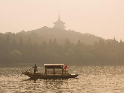 Boat on West Lake, Hangzhou, Zhejiang Province, China