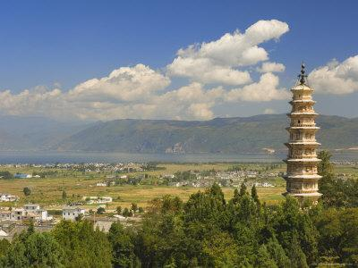 One of the Three Pagodas, and Erhai Lake in Background, Dali Old Town, Yunnan Province, China