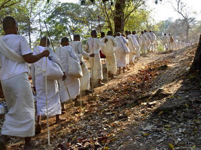 A Procession of Buddhist Nuns Make Their Way Through the Temples of Angkor, Cambodia, Indochina