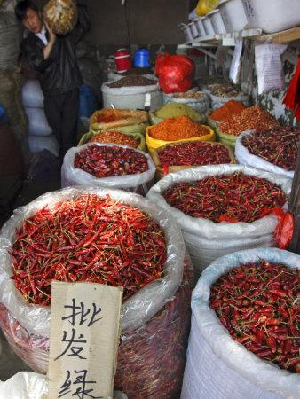 Chilli Peppers and Spices on Sale in Wuhan, Hubei Province, China