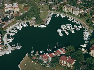Aerial View of Hilton Head Harbour Town, South Carolina, USA