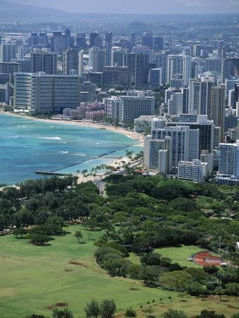 View North West from the Crater Rim of Diamond Head Towards Kapiolani Park and Waikiki