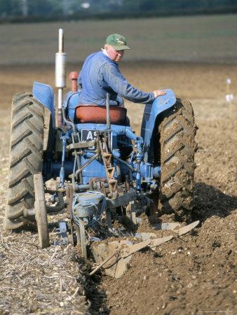 Farmer Ploughing Near Sonning Common, Oxfordshire, England, United Kingdom