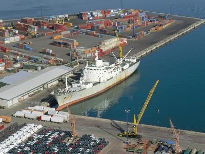 Container Terminal and Cargo Ship, Salerno, Campania, Italy, Mediterranean