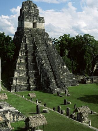 Temple of the Great Jaguar in the Grand Plaza, Mayan Ruins, Tikal, Peten
