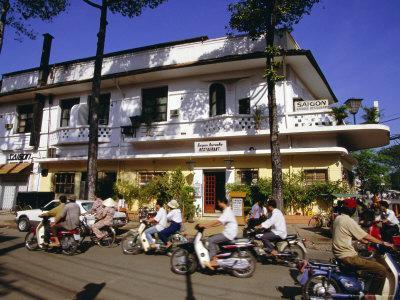 Street Corner with Karaoke Restaurant in Downtown Area, Ho Chi Minh City, Vietnam, Southeast Asia