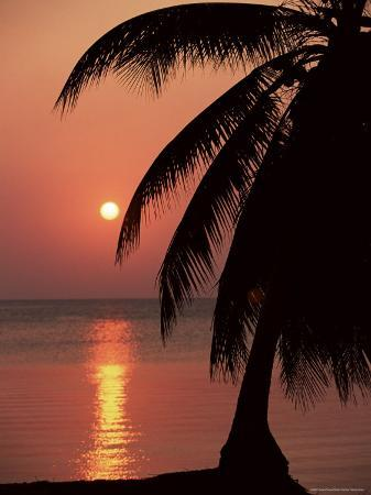 Sunset Seen from the Resort of West End on Roatan, Largest of the Bay Islands, Honduras, Caribbean