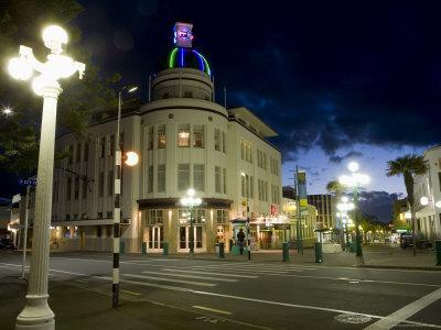 Lampost and Deco Clock Tower in the Art Deco City of Napier, North Island, New Zealand