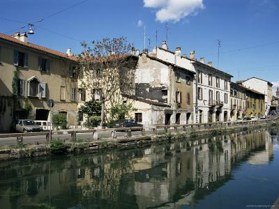 Canal at Porta Ticinese, Naviglio Grande, Milan, Lombardy, Italy