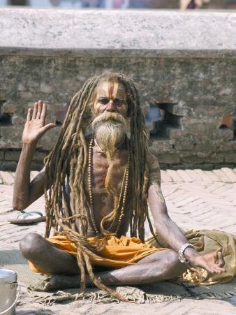 Portrait of a Sadhu, Hindu Holy Man, Pashupatinath Temple, Kathmandu, Nepal