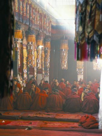 Monks Inside the Main Prayer Hall, Drepung Buddhist Monastery, Lhasa, Tibet, China