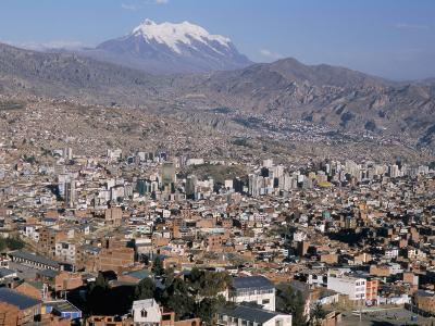 View Across City from El Alto, with Illimani Volcano in Distance, La Paz, Bolivia, South America