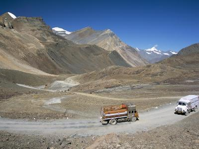 Trucks on Baralacha Pass, Road Only Open Three Months of Year, Ladakh, India