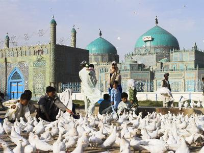 People Feeding Famous White Pigeons at Shrine of Hazrat Ali, Mazar-I-Sharif, Afghanistan