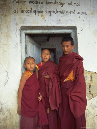 Portrait of Three Tibetan Buddhist Monks, Tashi Jong Monastery, Tibet, China