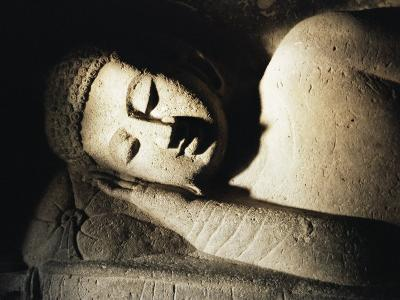 Detail of Stone Carving of the Buddha, Ellora Caves, Maharashtra State, India
