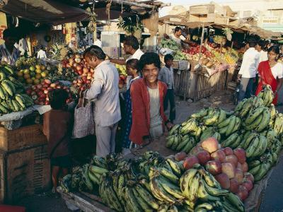 Fruit Including Bananas for Sale in the Market, Bhuj, Kutch District, Gujarat State, India