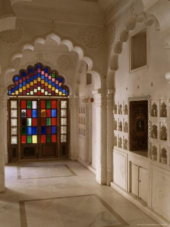 Original Old Stained Glass Windows and Traditional Niches Let into the Walls, Jodhpur, India