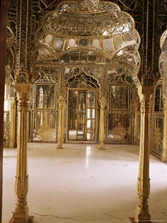 The Sheesh Mahal or a Traditional Feature of Rajasthan Palaces, Kuchaman Fort, India