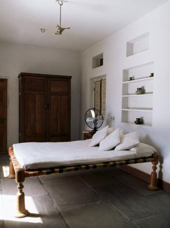 Bedroom with Traditional Low Slung Bed or Charpoy in a Home in Amber, Near Jaipur, India