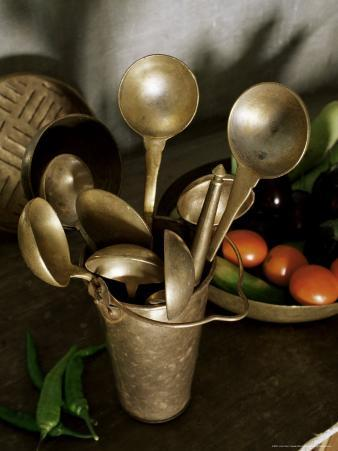 Traditional Brass Kitchen Utensils in a Home, Amber, Near Jaipur, Rajasthan State, India