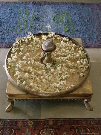 Flower Arrangement in Traditional Brass Thali, in a Residence, Ahmedabad, Gujarat State, India