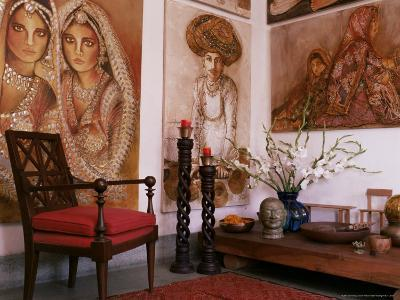 Paintings by Jaya Rastogi Wheaton, in Artist's House in Jaipur, Rajasthan State, India