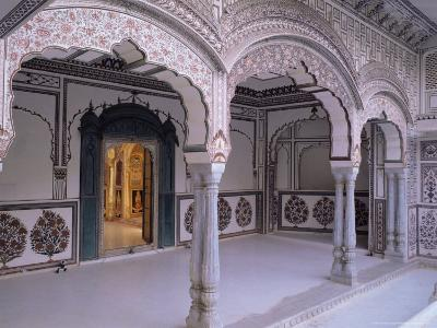 The Painted Walls of a Covered Verandah Which Surrounds One of the Fort Courtyards
