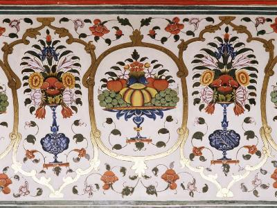 Detail of the Fine Wall Paintings, the City Palace, Jaipur, Rajasthan State, India