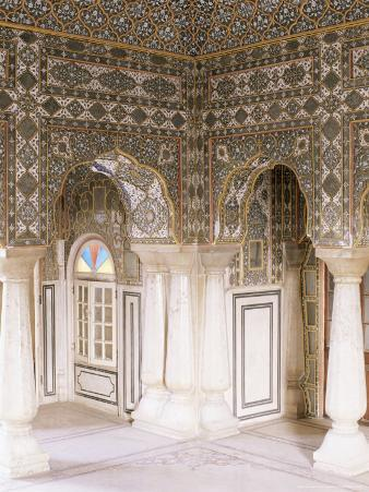 The Sheesh Mahal (Mirrored Hall) (Hall of Mirrors), the City Palace, Jaipur, Rajasthan State, India