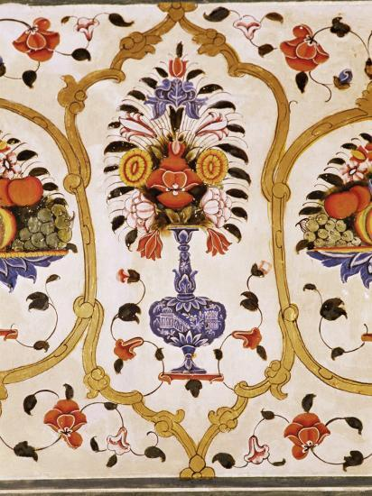 Detail Of The Fine Wall Paintings The City Palace Jaipur Rajasthan State India