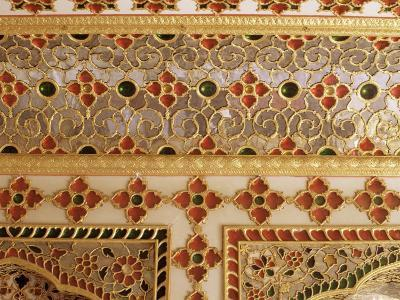 Detail of the Coloured Glass and Mirror Work in the Audience Chamber in the Palace, Jaipur, India