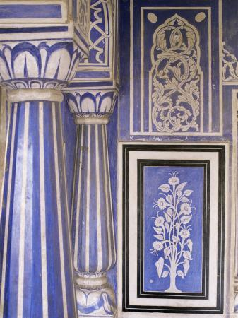 Abstract or Stylized Floral Motif, Chalk Blue and White Painted Mahal, the City Palace