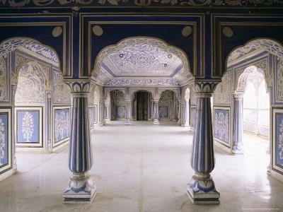 Stylized Foral Motif, Chalk Blue and White Painted Mahal, the City Palace, Jaipur, India