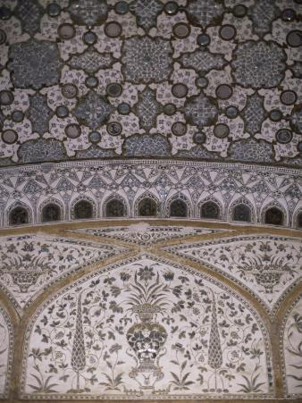 Interior Decorative Detail, Amber Fort, One of the Great Rajput Forts, Amber, Near Jaipur, India