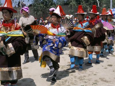 Tibetans Dressed for Religious Shaman's Ceremony, Tongren, Qinghai Province, China