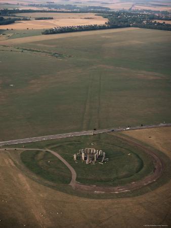 Aerial View of Stonehenge, Unesco World Heritage Site, Salisbury Plain, Wiltshire, England