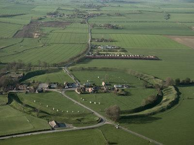 Aerial View of Avebury, Unesco World Heritage Site, Wiltshire, England, United Kingdom
